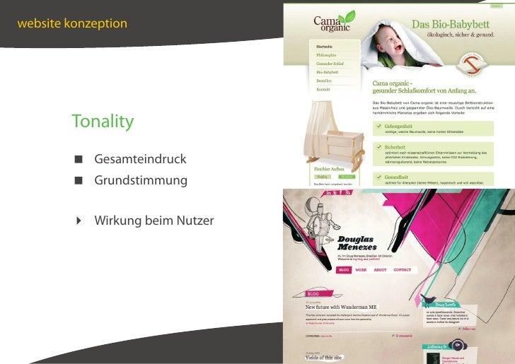 website konzeption             Tonality          Gesamteindruck          Grundstimmung            Wirkung beim Nutzer     ...