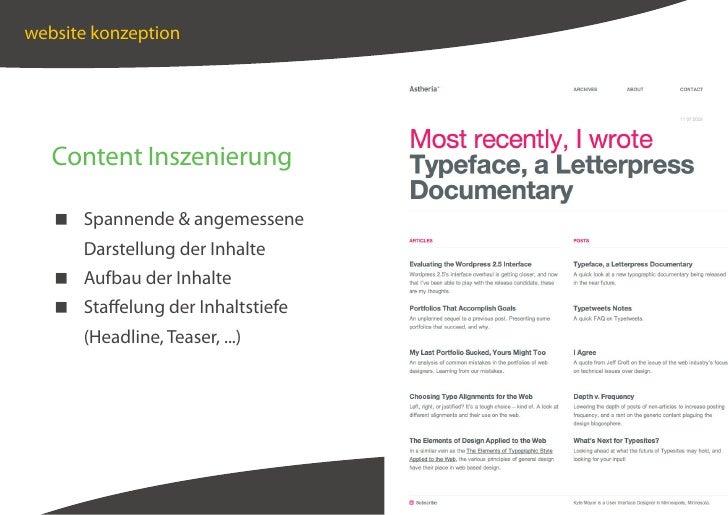 website konzeption        Content Inszenierung      Spannende  angemessene       Darstellung der Inhalte     Aufbau der In...