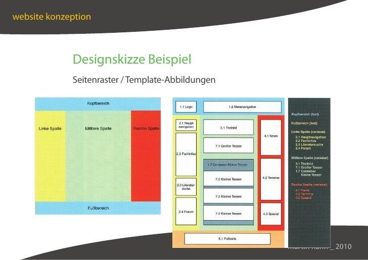 website konzeption                 Designskizze Beispiel              Seitenraster / Template-Abbildungen                 ...