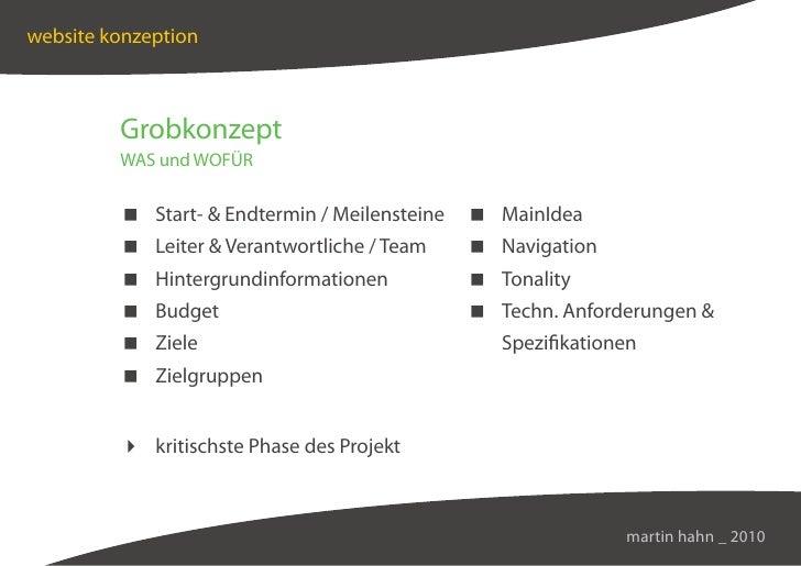 website konzeption             Grobkonzept          WAS und WOFÜR            Start-  Endtermin / Meilensteine    MainIdea ...