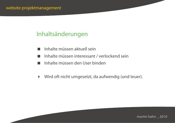 website projektmanagement                  Inhaltsänderungen                Inhalte müssen aktuell sein               Inha...