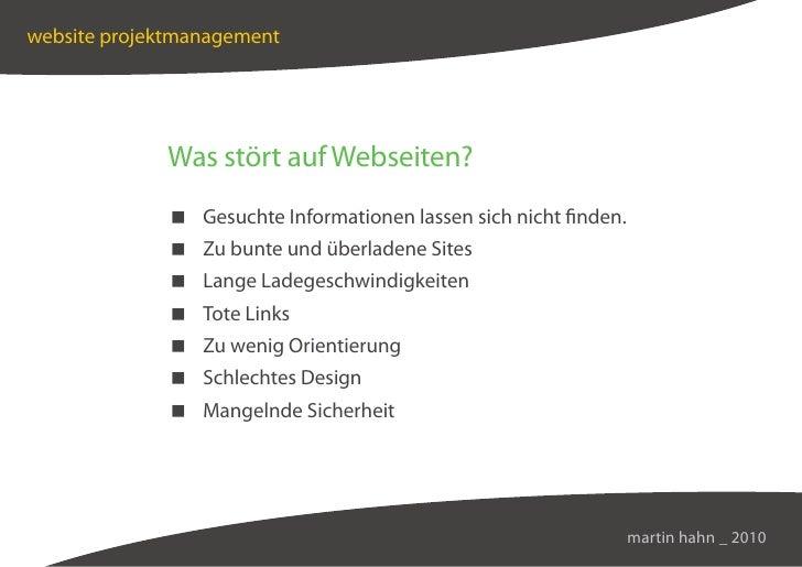 website projektmanagement                  Was stört auf Webseiten?               Gesuchte Informationen lassen sich nicht...