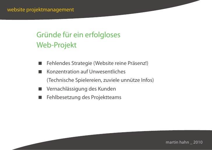 website projektmanagement              Gründe für ein erfolgloses           Web-Projekt              Fehlendes Strategie (...