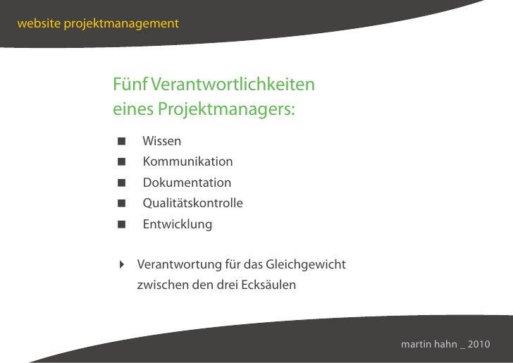 website projektmanagement                  Fünf Verantwortlichkeiten               eines Projektmanagers:                 ...
