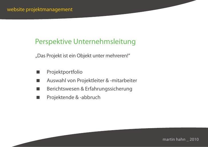"""website projektmanagement               Perspektive Unternehmsleitung           """"Das Projekt ist ein Objekt unter mehreren..."""
