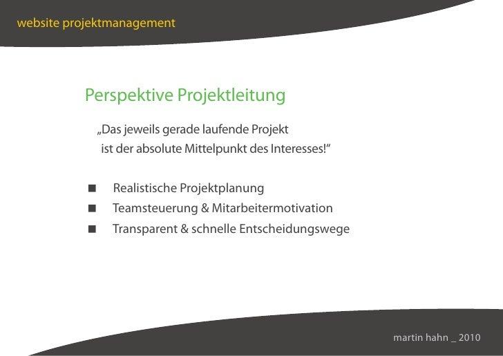 """website projektmanagement               Perspektive Projektleitung             """"Das jeweils gerade laufende Projekt       ..."""