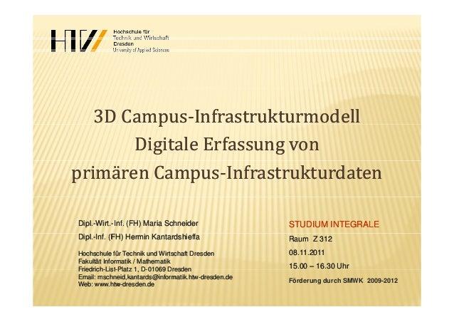 3DCampus3DCampus‐‐InfrastrukturmodellInfrastrukturmodellppDigitaleErfassungvonDigitaleErfassungvonprimärenCampusp...