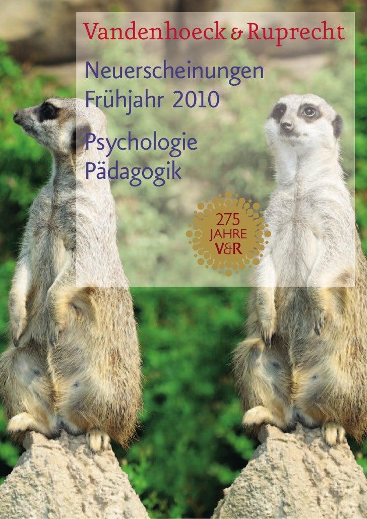 Vandenhoeck & Ruprecht Neuerscheinungen Frühjahr 2010 Psychologie Pädagogik