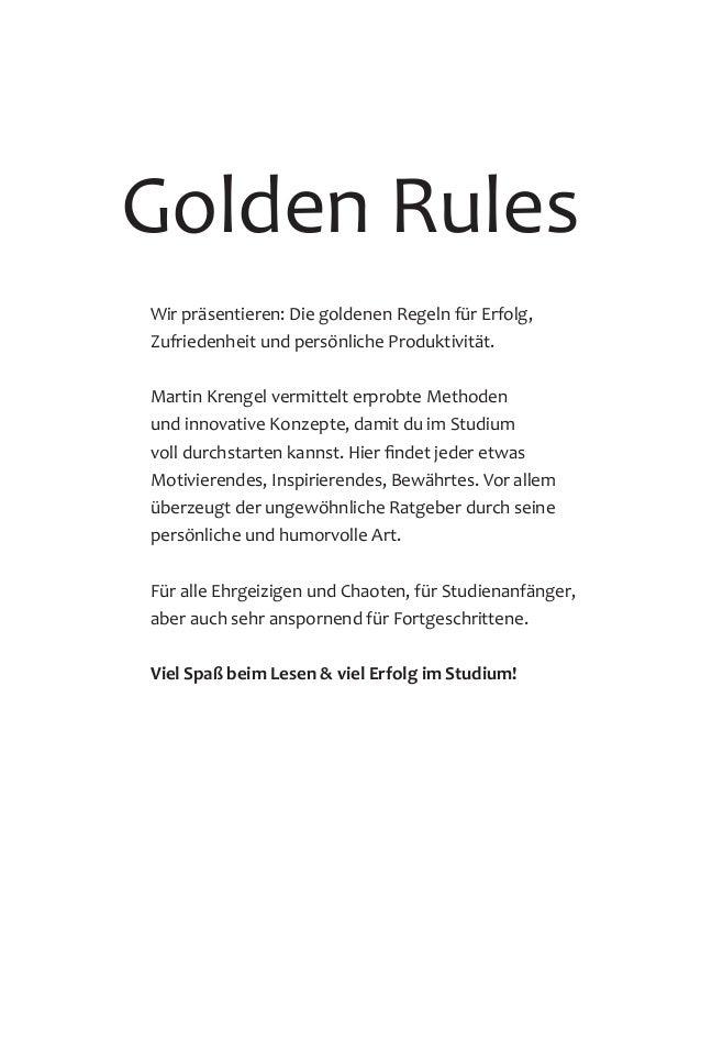 Golden Rules Wir präsentieren: Die goldenen Regeln für Erfolg, Zufriedenheit und persönliche Produktivität. Martin Krengel...