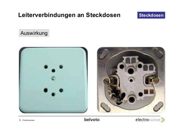 Leiterverbindungen an Steckdosen Steckdosen  Auswirkung  11 © electrosuisse