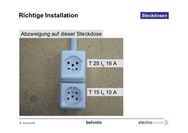 Abzweigung auf dieser Steckdose  19 © electrosuisse  Steckdosen  T 25 In 16 A  T 15 In 10 A  Richtige Installation