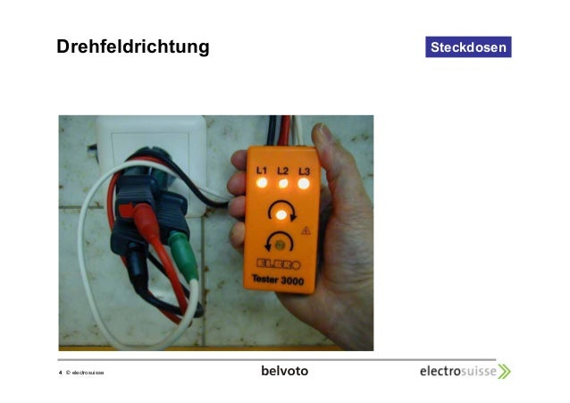 Drehfeldrichtung Steckdosen  4 © electrosuisse