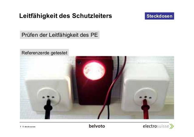 Leitfähigkeit des Schutzleiters  7 © electrosuisse  Steckdosen  Prüfen der Leitfähigkeit des PE  Referenzerde getestet