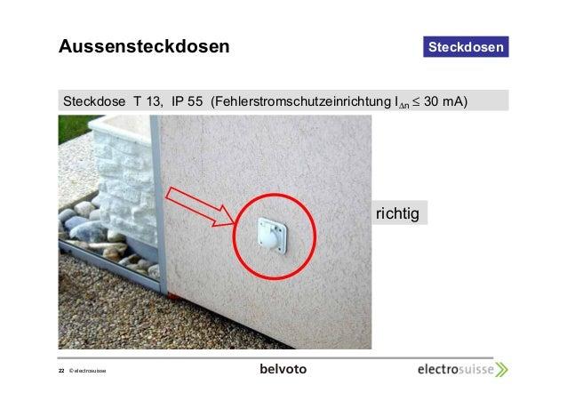 Steckdose T 13, IP 55 (Fehlerstromschutzeinrichtung In  22 © electrosuisse  Steckdosen   30 mA)  richtig  Aussensteckdosen