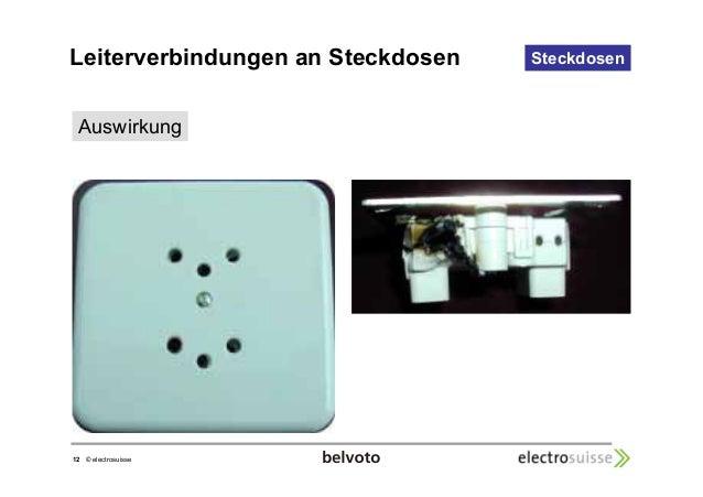Leiterverbindungen an Steckdosen Steckdosen  Auswirkung  12 © electrosuisse