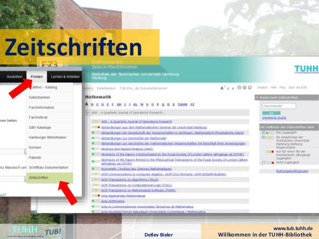Willkommen in der TUHH-BibliothekDetlev Bieler TUHHTechnische UniversitätHamburg-Harburg www.tub.tuhh.de Zeitschriften
