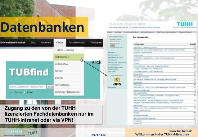 Datenbanken  Klick!  Willkommen in der TUHH-Bibliothek TUHH Technische Universität Hamburg-Harburg  www.tub.tuhh.de  Zugan...
