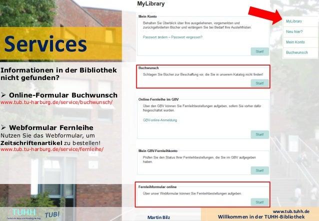 Services  Willkommen in der TUHH-Bibliothek TUHH Technische Universität Hamburg-Harburg  www.tub.tuhh.de  Informationen in...