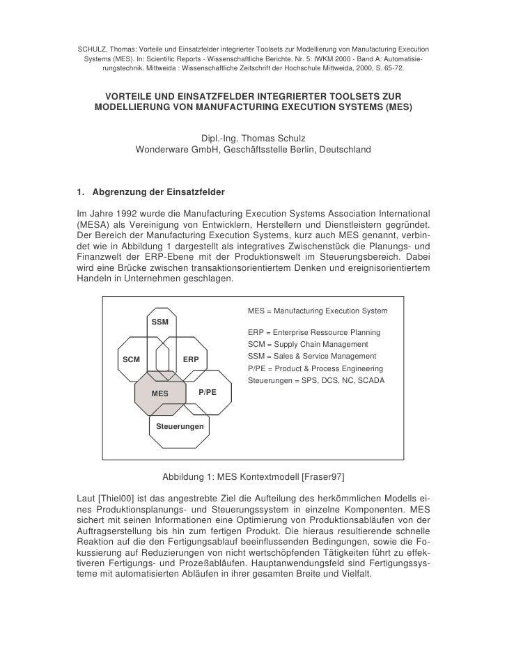 SCHULZ, Thomas: Vorteile und Einsatzfelder integrierter Toolsets zur Modellierung von Manufacturing Execution  Systems (ME...