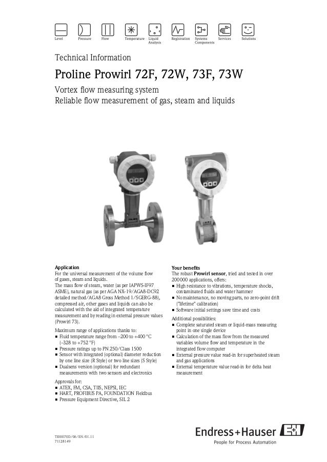 TI00070D/06/EN/01.1171128149Technical InformationProline Prowirl 72F, 72W, 73F, 73WVortex flow measuring systemReliable fl...