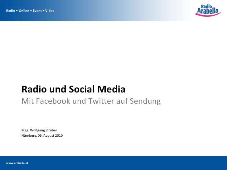 Radio und Social Media<br />Mit Facebook und Twitter auf Sendung<br />Mag. Wolfgang Struber<br />Nürnberg, 06. August 2010...