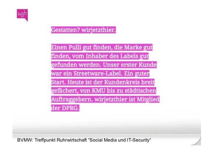 """BVMW: Treffpunkt Ruhrwirtschaft """"Social Media und IT-Security"""""""