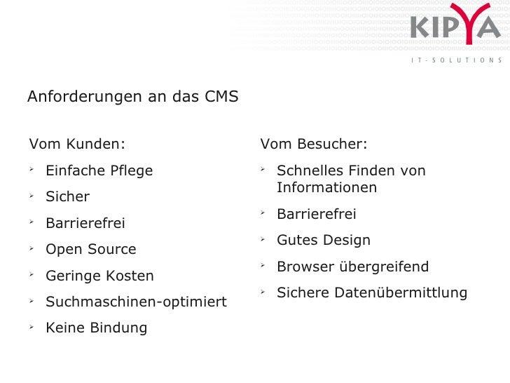 Anforderungen an das CMS   Vom Kunden:                   Vom Besucher: ➢     Einfache Pflege           ➢                  ...
