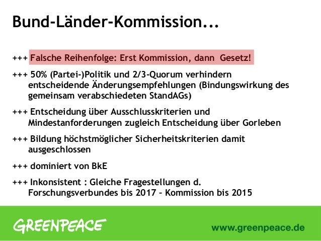 Bund-Länder-Kommission...+++ Falsche Reihenfolge: Erst Kommission, dann Gesetz!+++ 50% (Partei-)Politik und 2/3-Quorum ver...