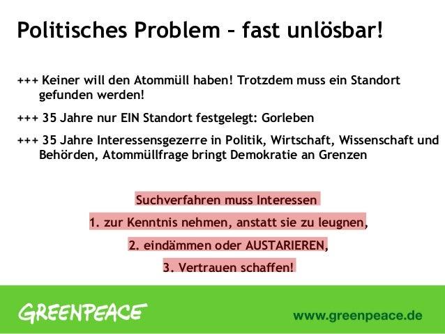 Politisches Problem – fast unlösbar!+++ Keiner will den Atommüll haben! Trotzdem muss ein Standortgefunden werden!+++ 35 J...