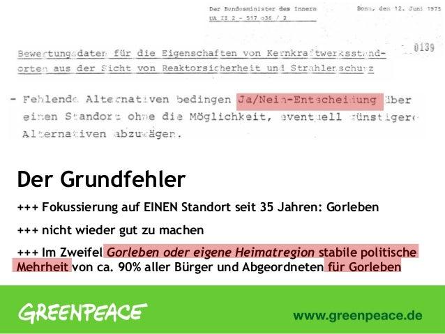 Der Grundfehler+++ Fokussierung auf EINEN Standort seit 35 Jahren: Gorleben+++ nicht wieder gut zu machen+++ Im Zweifel Go...
