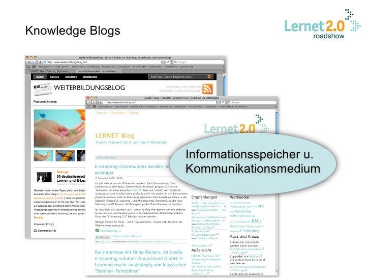 Knowledge Blogs                       Informationsspeicher u.                   Kommunikationsmedium