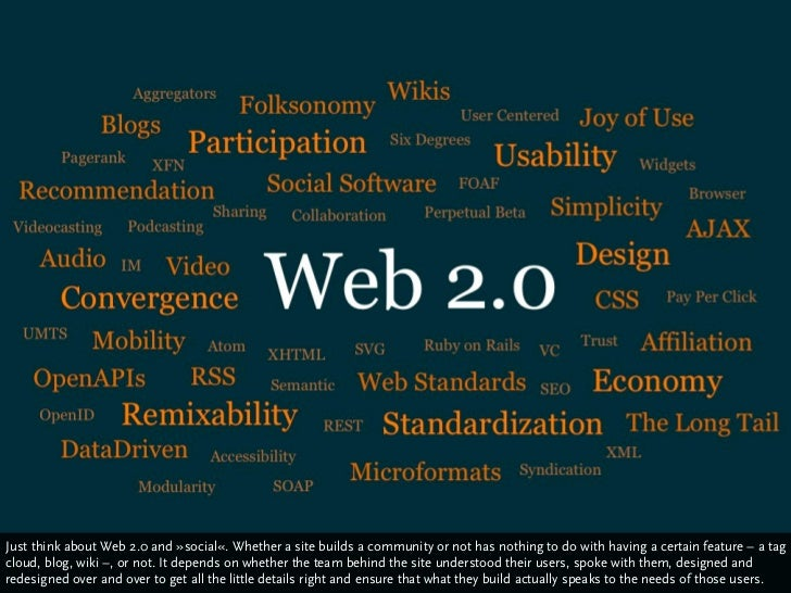 Just think about Web 2.0 and »social«. Whether a site builds a community or not has nothing to do with having a certain fe...