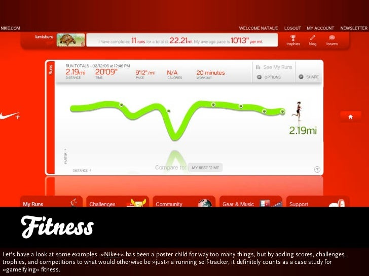 FitnessLet's have a look at some examples. »Nike+« has been a poster child for way too many things, but adding scores, cha...