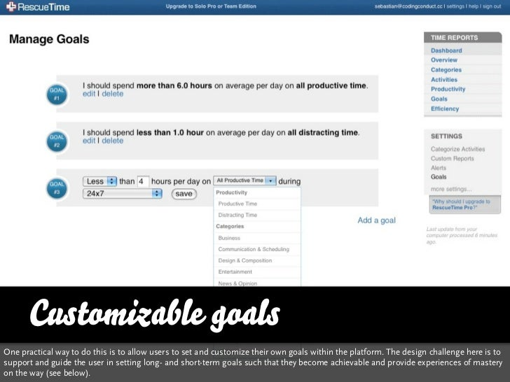 Customizable goalsOne practical way to do this is to allow users to set and customize their own goals within the platform....