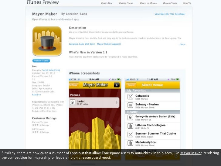 Similarly, there are now quite a number of apps out that allow Foursquare users to auto-check in to places, like Mayor Mak...