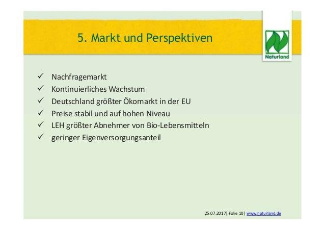  Nachfragemarkt  Kontinuierliches Wachstum  Deutschland größter Ökomarkt in der EU  Preise stabil und auf hohen Niveau...