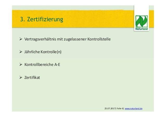  Vertragsverhältnis mit zugelassener Kontrollstelle  Jährliche Kontrolle(n)  Kontrollbereiche A-E  Zertifikat 25.07.20...