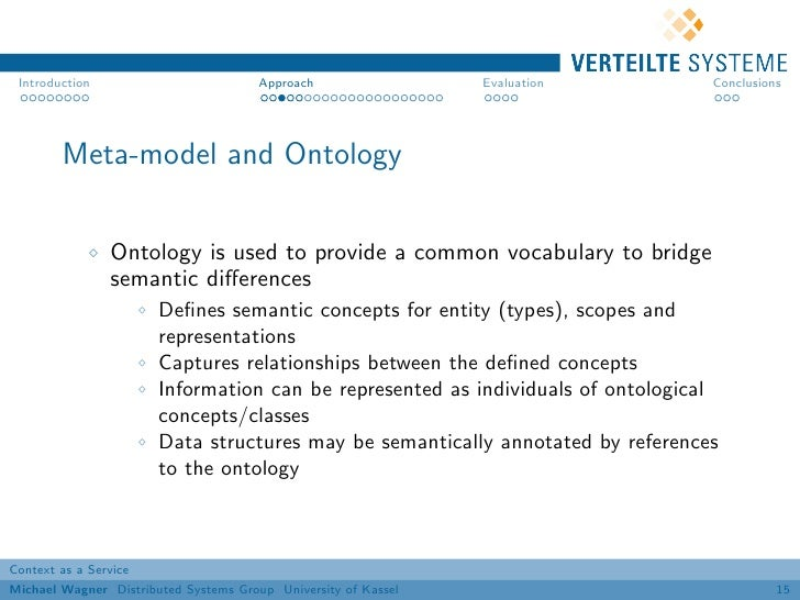 Introduction                          Approach                 Evaluation        Conclusions        Meta-model and Ontolog...