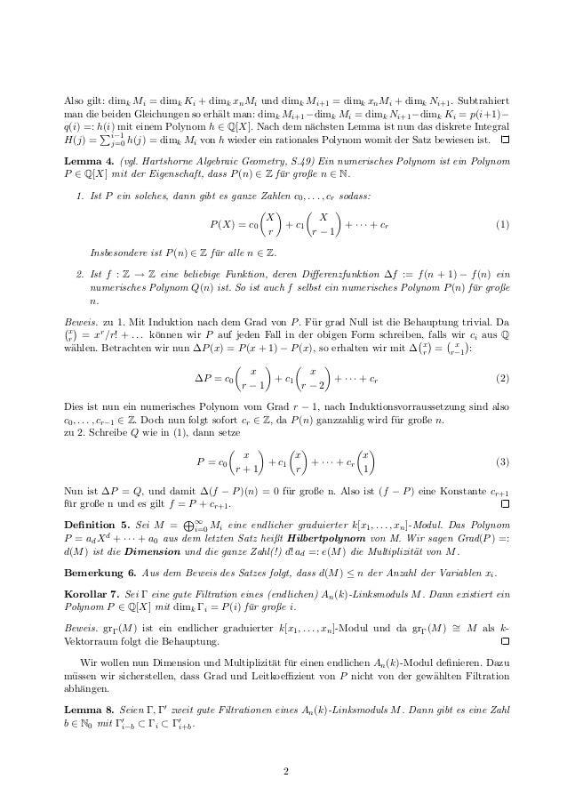 Dimension und Multiplizität von D-Moduln Slide 2