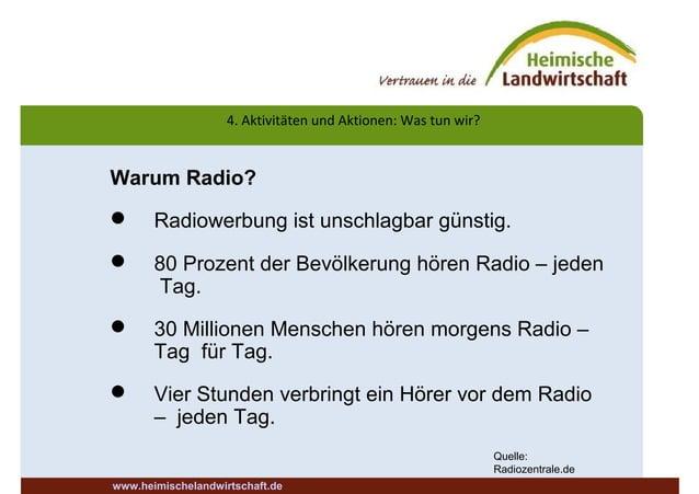 4. Aktivitäten und Aktionen: Was tun wir? www.heimischelandwirtschaft.de Warum Radio?  Radiowerbung ist unschlagbar günst...