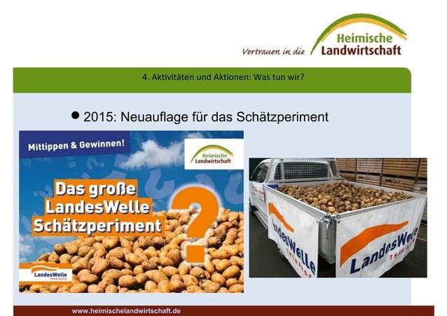 4. Aktivitäten und Aktionen: Was tun wir? 2015: Neuauflage für das Schätzperiment www.heimischelandwirtschaft.de