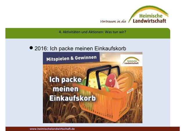 4. Aktivitäten und Aktionen: Was tun wir? 2016: Ich packe meinen Einkaufskorb www.heimischelandwirtschaft.de