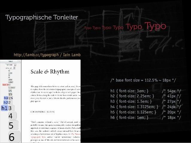 Typographische Tonleiter Typo Typo  Typo Typo  Typo  Typo  http://lamb.cc/typograph / Iain Lamb  /* base font size = 112.5...