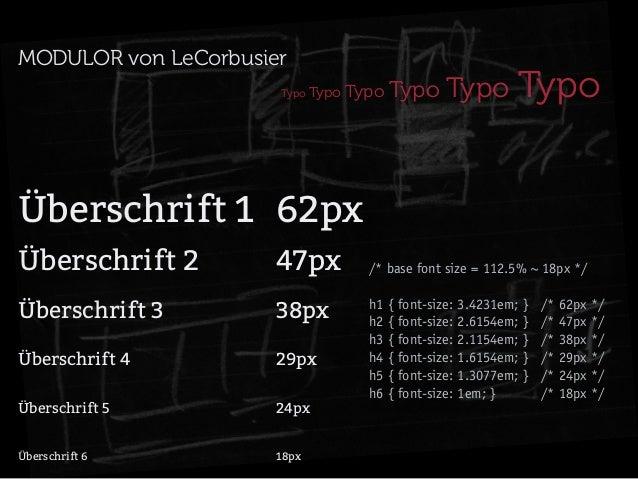MODULOR von LeCorbusier Typo  Typo Typo  Typo Typo  Typo  Überschrift 1 62px Überschrift 247px Überschrift 338...