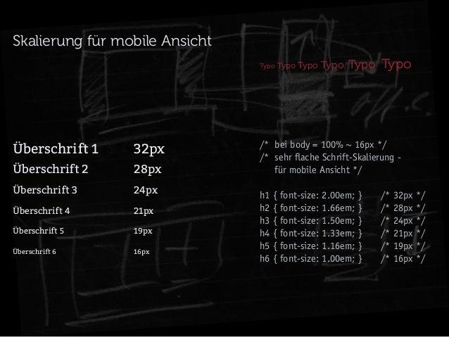 Skalierung für mobile Ansicht Typo Typo  Überschrift 132px Überschrift 228px Überschrift 324px Überschrift 4...