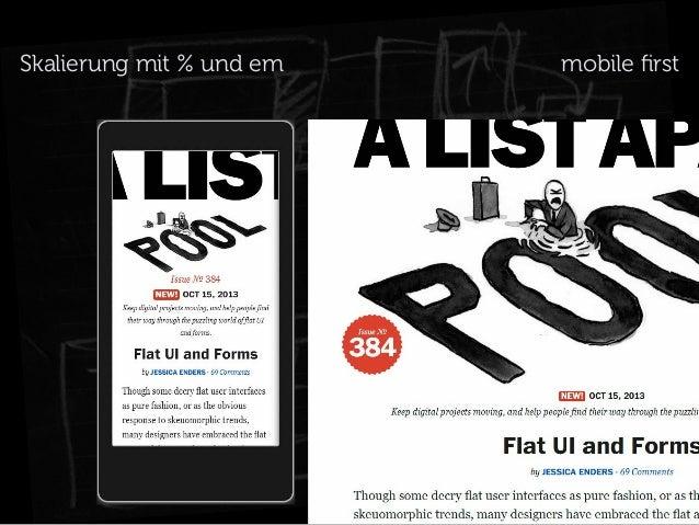 Skalierung mit % und em  mobile first