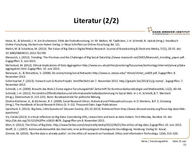 Literatur (2/2) Heise, N., & Schmidt, J.-H. (im Erscheinen): Ethik der Onlineforschung. In: M. Welker, M. Taddicken, J.-H....