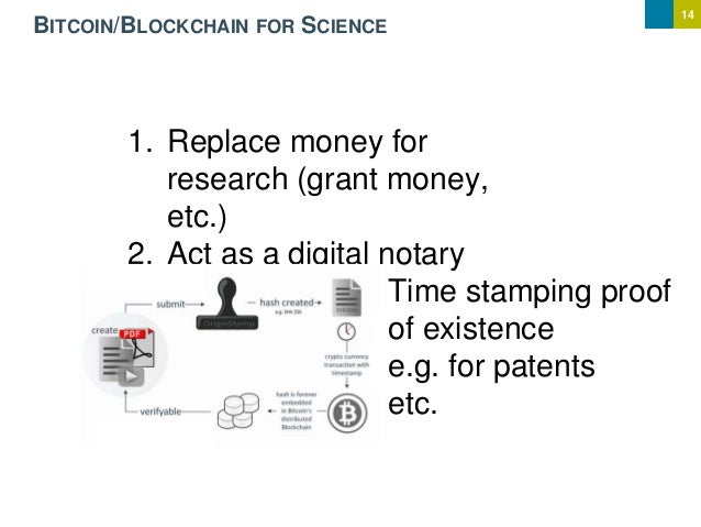14 BITCOIN/BLOCKCHAIN FOR SCIENCE 1. Replace money for research (grant money, etc.) 2. Act as a digital notary Time stampi...