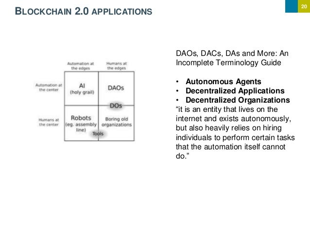 20 BLOCKCHAIN 2.0 APPLICATIONS DAOs, DACs, DAs and More: An Incomplete Terminology Guide • Autonomous Agents • Decentraliz...