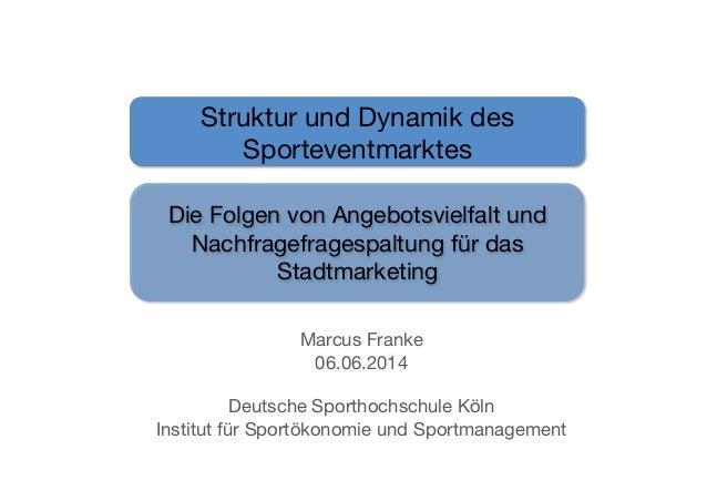 Marcus Franke 06.06.2014 Deutsche Sporthochschule Köln Institut für Sportökonomie und Sportmanagement Struktur und Dynamik...